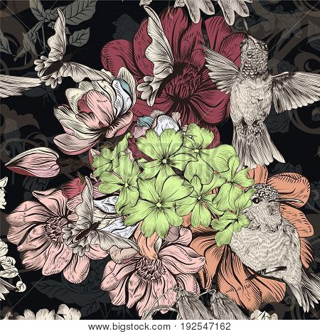 Beautiful and elegant seamless pattern with hummingbirds and magnolia flowers