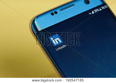 New york, USA - June 23, 2017: Linkedin application icon on smartphone screen close-up. Linkedin app icon with copy space on screen