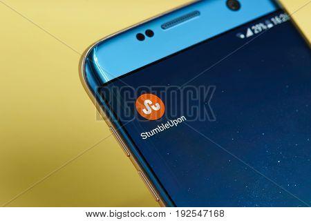 New york, USA - June 23, 2017: Stumbleupon application icon on smartphone screen close-up. Stumbleupon app icon with copy space on screen