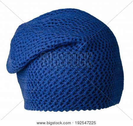 Women's Hat . Knitted Hat Isolated On White Background . Blue Hat