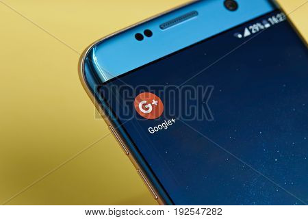 New york, USA - June 23, 2017: Google plus application icon on smartphone screen close-up. Google plus app icon with copy space on screen