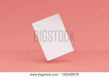 Blank White Bended Flyer Mockup On Red Background