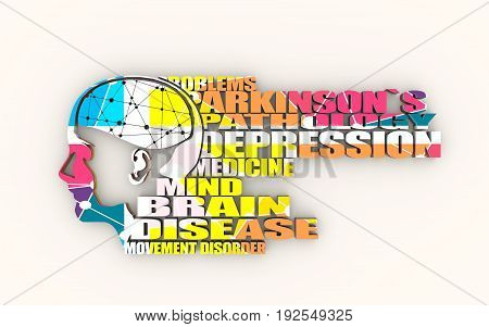 Abstract illustration of a human head with brain. Woman face silhouette. Medical theme creative concept. Parkinsons syndrome disease tags cloud. 3D rendering. Multicolor polygonal texture