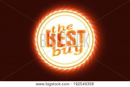 Stamp icon. Graphic design elements. 3D rendering. The best buy text. Neon illumination