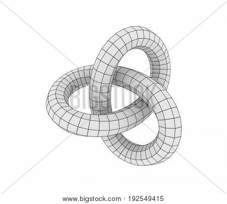 Abstract geometric shape with trefoil knot. 3D rendering. Polygonal wireframe infinity loop model