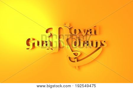Royal crown logo. Business golden emblem with R letter and face silhouette. 3D rendering. Royal guardiands text