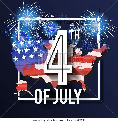 4TH of July Celebration Background Design with USA Map and Fireworks. American Independence Day Square Banner. Vector illustration