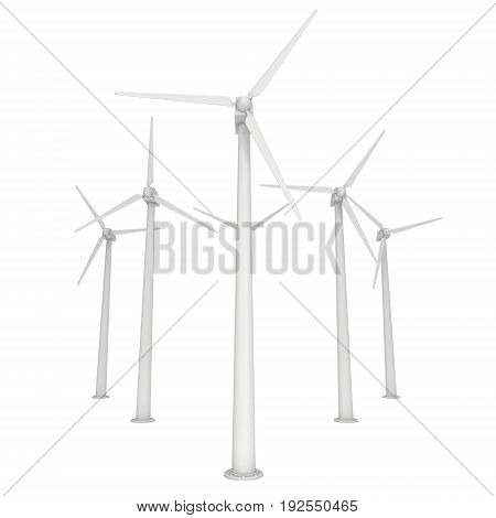 Wind turbine farm with propellers. Windmill generators 3D render isolated on white