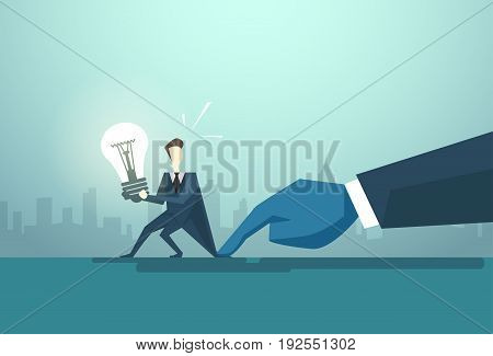 Businessman Hold Light Bulb Problem, Business Man Idea Crisis Concept Flat Vector Illustration