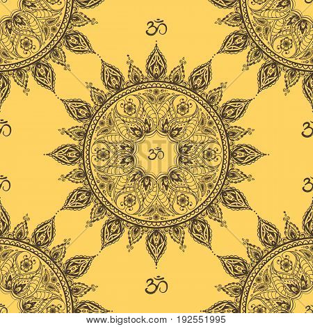 Ornamental ethnic mandala seamless pattern, stock vector illustration