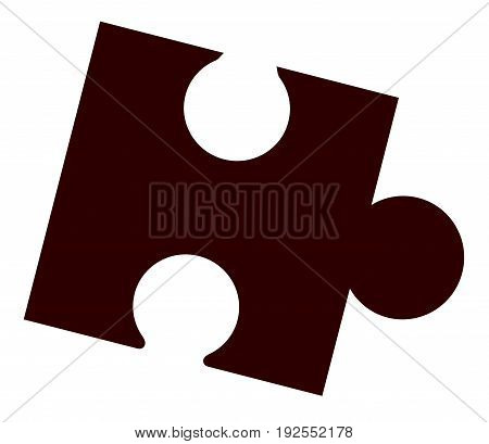Isolated black jigsaw piece over a white background