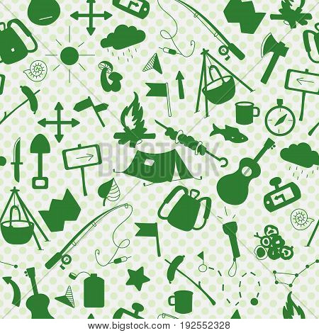 Seamless background with simple icons on the theme of camping and traveling a green silhouettes of icons on the background of polka dots