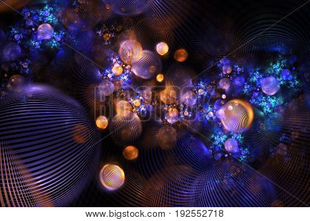 Abstract Orange And Blue Textured Bubbles On Black Background. Fantasy Fractal Design. Psychedelic D