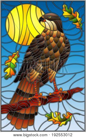 Illustration in stained glass style with fabulous Falcon sitting on a tree branch against the sky