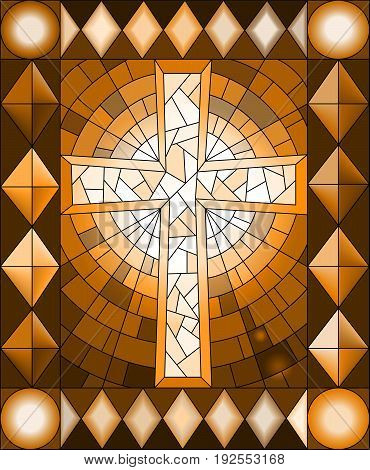 Illustration in stained glass style with a Christian crossframe brown tone Sepia