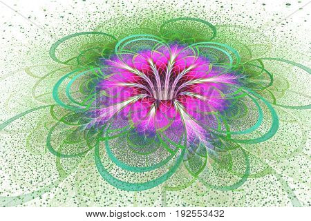 Abstract Exotic Flower With Textured Petals On White Background. Fantastic Fractal Design In Bright