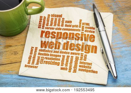 responsive web design word cloud  on a napkin with a green cup of espresso coffee