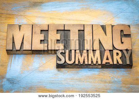 meeting summary banner in letterpress wood type printing blocks