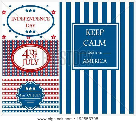Happy Independence Day flag cadr of USA with text background america holiday vector illustration. USA Independence Day banner in vintage freedom patriotic 4th july style.