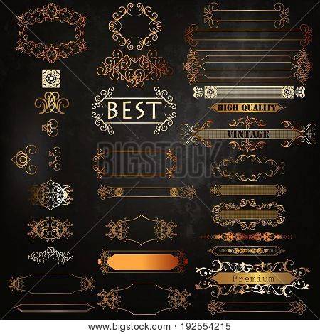 Set of vector luxury golden calligraphic elements for logotypes and label identity design