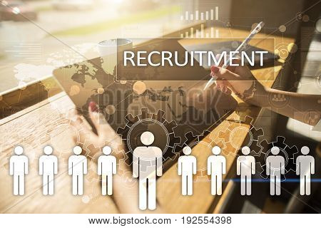 Human resource management, HR, recruitment, leadership and teambuilding. Business and technology concept
