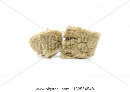 Mineral wool for insulation. The fiberglass is isolated on white.