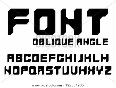 Black font with oblique angles. English alphabet isolated on white background.