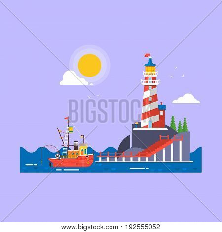 Cool flat design fishing boat seaway transportation.Lighthouse on rock stones island cartoon vector background. Flat Vector illustration