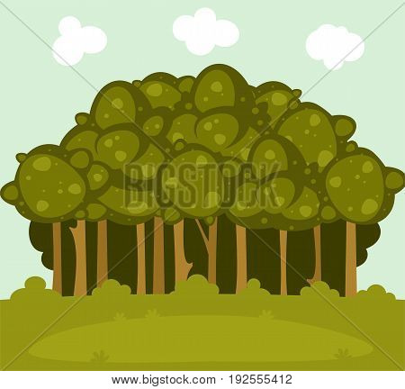 Illustration of  forest landscape with a glade