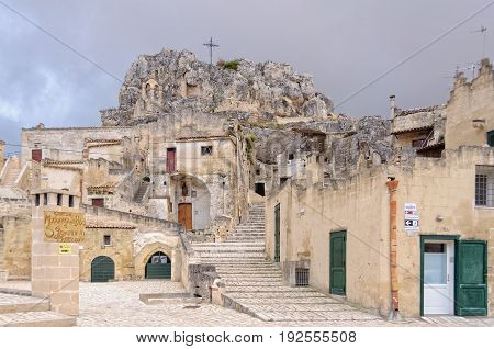 The Church of Madonna de Idris is in the upper part of Monterrone on a large limestone cliff - Matera basilicata Italy, 25 October 2011