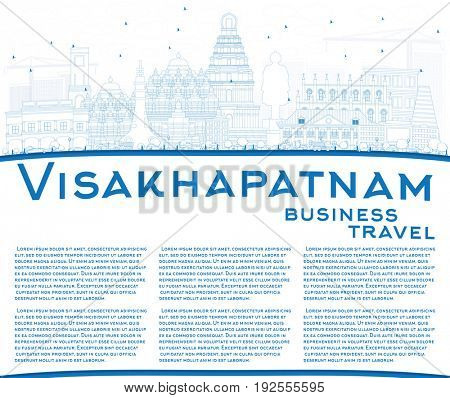 Outline Visakhapatnam Skyline with Blue Buildings and Copy Space. Business Travel and Tourism Concept with Historic Architecture. Image for Presentation Banner Placard and Web Site.