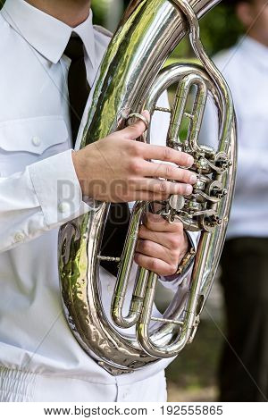 Military Musician In Uniform Playing On Tuba. Brass Bands Fest.