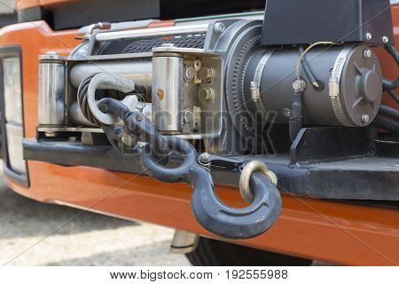 winch and hook on front of rescue truck.