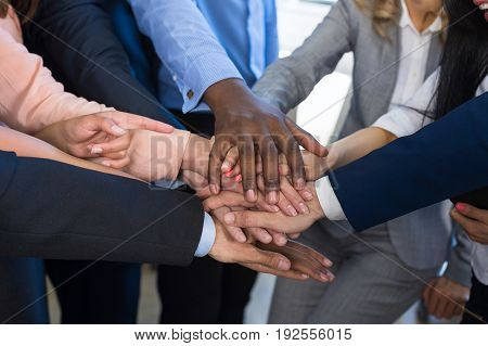 Stack Of Hands, Teamwork Concept, Business People Group Joining Arms In Pile, Diverse Team Of Businesspeople Working Together Support And Partnership