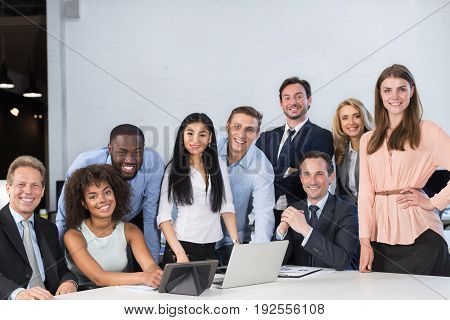 Mix Race Businesspeople Sitting At Table Happy Smiling Meeting Communication Discussion, Business Man And Woman Working Together Brainstorming Office Workers Concept