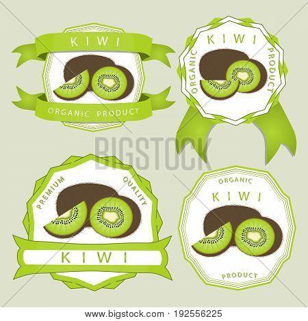 Abstract vector illustration logo for whole ripe fruit kiwi, green stem leaf cut sliced kiwifruit in background.