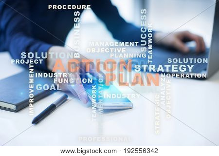 Action plan on the virtual screen. Business concept. Words cloud