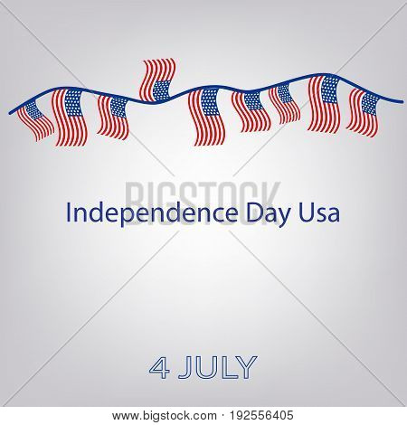 Flag of the United States with the inscription. Garland of flags. Independence Day USA. 4th of July. Vector illustration