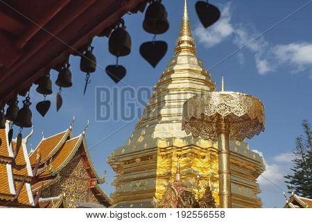 Pagoda in Wat Phra That Doi Suthep in Chiang Mai, Thailand