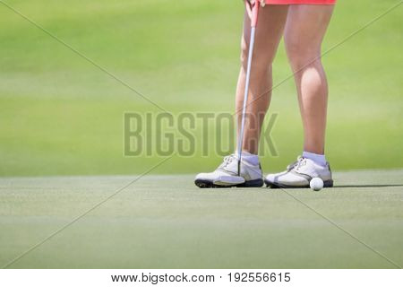 Female golfer putting on green. (focus at ball).