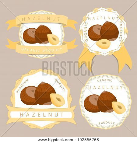 Abstract vector illustration logo whole ripe brown hazelnut nut cut sliced, product hazel background.