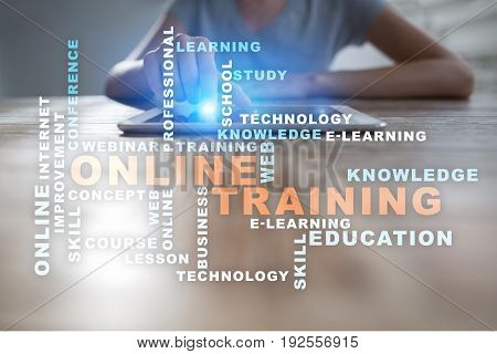 Online training on the virtual screen. Education concept. Words cloud