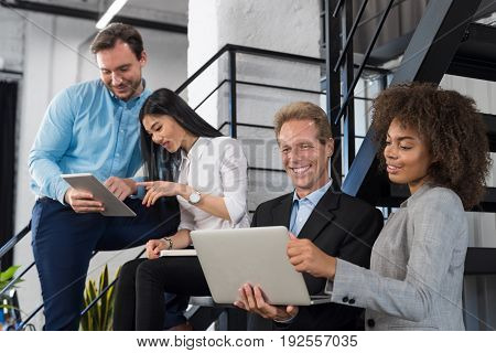Businesswoman Showing Boss New Strategy On Laptop Computer In Modern Office, Business People Team Sharing Ideas Discussing New Projects, Successful Coworkers Communication