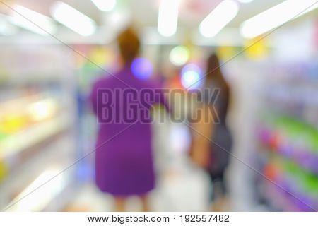 Blurred of unidentified people shopping in department store