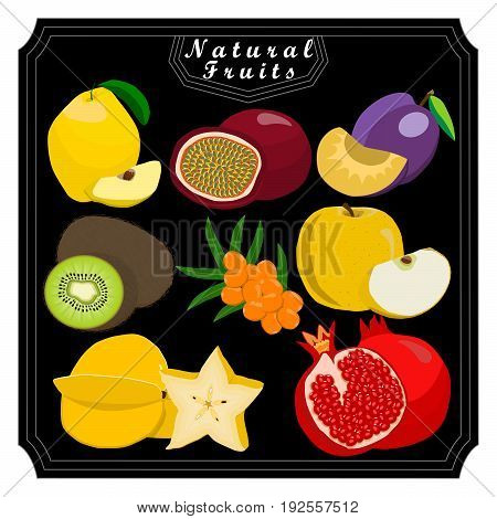 Vector illustration logo fruit melon strawberries kiwi watermelon persimmon pomegranate coconut strawberry passion fruit goji berry guava cranberry gooseberry papaya mango.