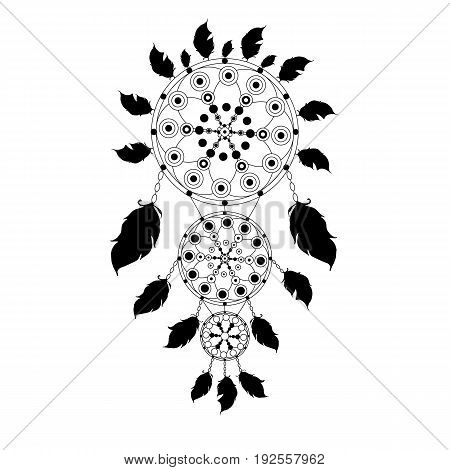 Dreamcatcher. Black and white. Indian pattern. Vector isolated image. Feathers. Beads. Can be used as graffiti, prints, posters, printed materials and other web resources.