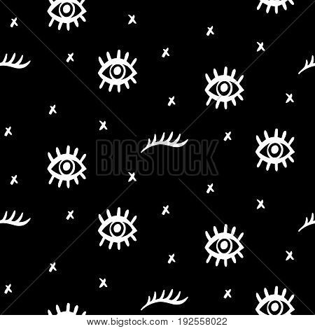 Vector Seamless pattern with hand drawn open and winking psychedelic eyes on black background. Fashion background, textile print