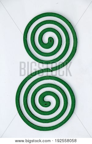 Mosquito coil close-up, two mosquito repellent coils