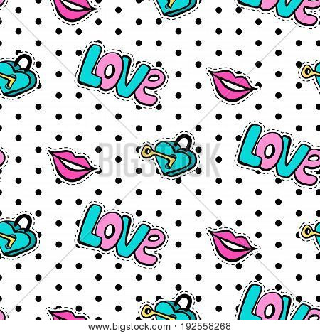 Seamless pattern with fashionable patch set. Hand drawn lips, love background. Comic romantic stickers, pins, patches, badges  doodle in cartoon pop art 80s-90s style. Modern vector illustration.