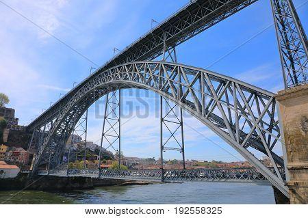 Dom Luis I bridge over Douro river in Porto city Portugal